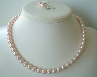 Single Strand Pale Pink Swarovski Pearl Beaded Necklace and Earring Set    Great Brides or Bridesmaid Gifts