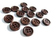 Bouton de bois à 4 trous en bois naturel brun foncé de 15mm - ensemble de 15