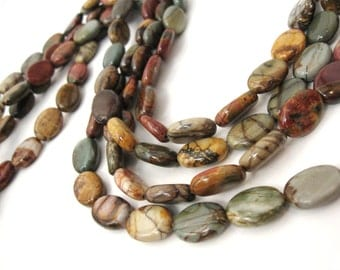 Natural Picasso Stone Beads Strands Colorful Oval 14 x 10mm  (PP307C)