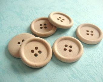 Natural unfinished wood button set of 6 large button 25mm  #BB119A