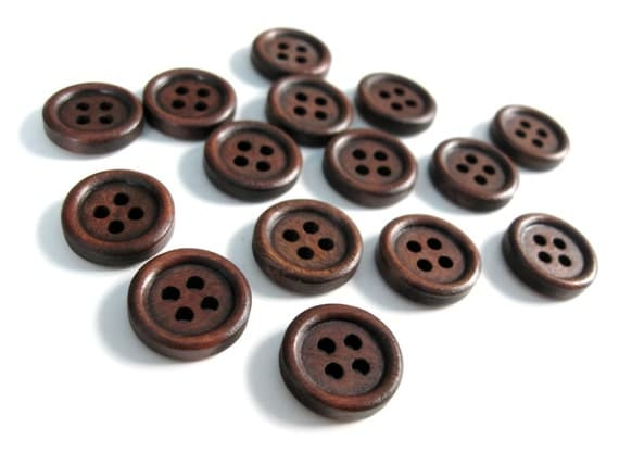 Wood button - Dark Brown 4 Holes Wooden Sewing Buttons 15mm - set of 15 (BB101)