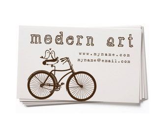 Business Card Stamp   Custom Rubber Stamp   Custom Stamp   Personalized Stamp   Vintage Bicycle with Bird   Bicycle Stamp   Bird Stamp  BC47