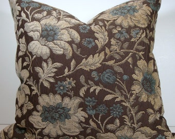 "Blue and Cream Floral on Brown / Pillow Cover / 20""x20"""