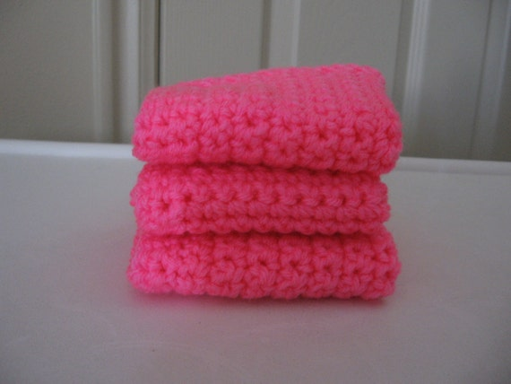 Crochet Wash Cloths Pretty in Pink Set of Three