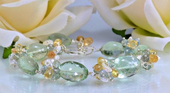 Green Amethyst Gemstone Bracelet, Imperial Toapz,Moss Aquamarine,Sterling Silver Wire Wrapped Bracelet,Aegean Mist