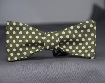 Sage Green with Cream Dots  Bow Tie