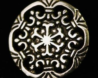 Silver Metal Snowflake Filigree Button Medieval & Renaissance Set of 12