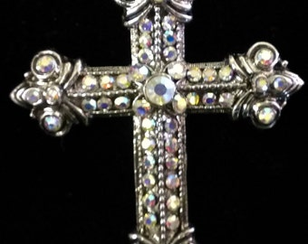 Ornate Crystal and Metal Cross Pendant for Necklace