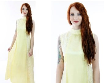 60s Yellow Formal Dress Mod Floral Empire Waist Lace Ribbon Mad Men Maxi 1960s Party Hostess Cocktail Dress Prom Event  Small S Medium M