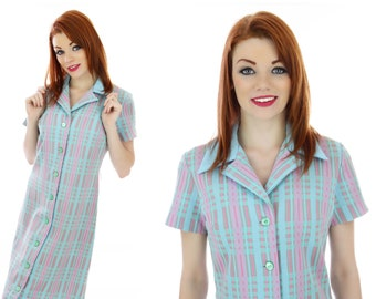 60s Mod Plaid Dress Pretty Blue Green Pink Bleeker Street 60s Mini A-Line Buttons Down Front Retro 1970s Indie Medium M