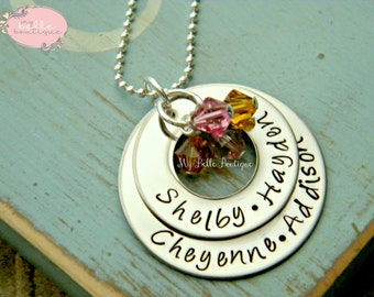 Personalized Hand Stamped Double Washer Necklace with Swarovski Birthstone Charms