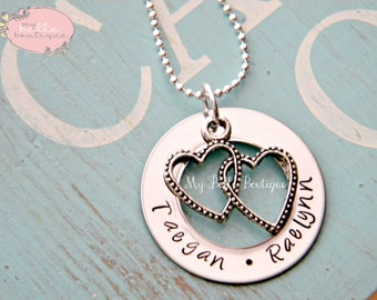 Unique Personalized Hand Stamped Double Heart Washer Necklace