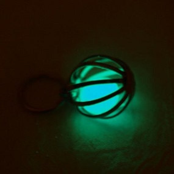 Glow In The Dark Light Blue Necklace 11mm Great As Wedding Bridal Or Best Friend Gift