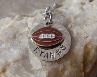 Personalized Name and Number Football Necklace or Keychains