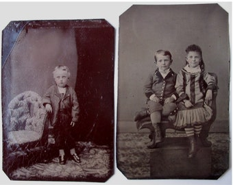 Pair of TINTYPE PHOTOGRAPHS of CHILDREN, ca. 1880's  -- Child Size Studio Props -- Eastlake Style