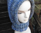Country Blue brown knit hood with collar pure wool luxury elf elvish pixie by irish granny unique