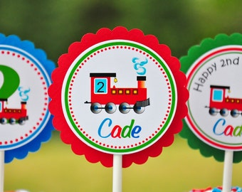 Choo Choo Train Cupcake toppers, Choo Choo Train Birthday - Set of 12