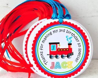 Choo Choo Train Hang Tags, Choo ChooTrain Gift Tags, Choo Choo Train Birthday Party - Set of 12