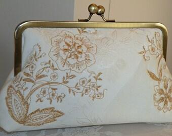 Embroidered Silk Kimono Clutch/Purse/Bag..Long Island Bridal/Wedding Gift..Gold/Ivory Cherry Blossom..Floral..Free Monogram