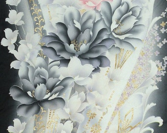 Silk Kimono Fabric  Clutch/Purse/Bag..Cherry Blossom Peony..Florals..Black/Lavendar/Pink/Ivory..See Wrap/Scarf..Bridal/Wedding/Prom
