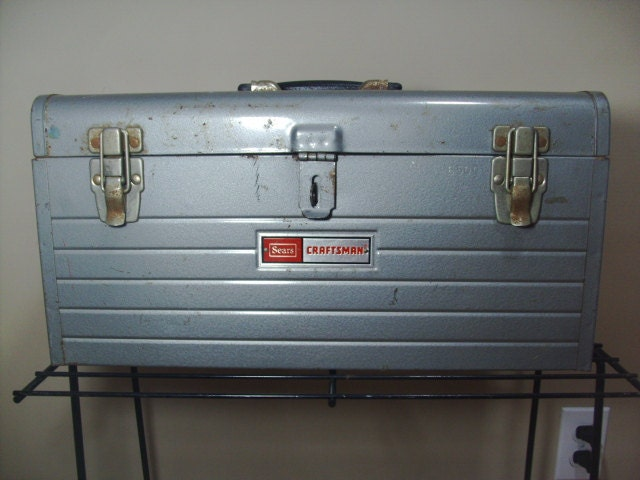 Vintage Sears Craftsman Metal Aged Tool Box 6500
