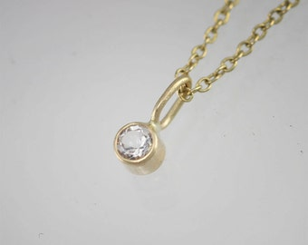 """White Topaz Drop Necklace in 14k Yellow Gold (16"""")"""