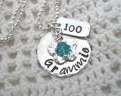 Grammie's Special Day Sterling Silver Necklace with Birthstone Crystal and Birthday Year  Grandma Nana Grandmother