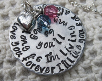 Mommy Necklace in Sterling Silver  -  I'll love you forever. I'll like you for always. As long as I'm living, my baby you'll be.