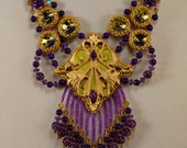 Persian Princess Parure Jewelry Set, purple, gold, green, beadwork, fringe