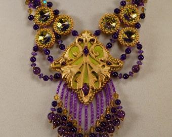 Persian Princess Parure Jewelry Set, purple, gold, green, beadwork, fringe