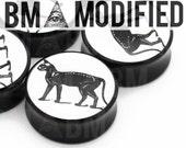 "3/4"" (19mm) Cat Skeleton BMA Modified Plugs Pair"