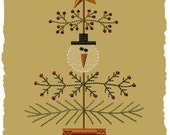 Primitive Machine Embroidery Design-Snow Christmas Tree-5x7-INSTANT DOWNLOAD