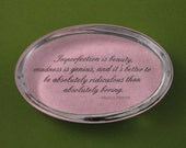 "Marilyn Monroe ""Imperfection"" Quotation Oval Glass Paperweight Inspirational Art Home Decor"