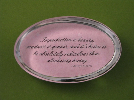 Marilyn Monroe Quote Imperfection Quote Oval Paperweight