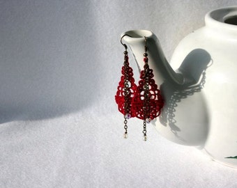 EARRINGS - Chandelier Drop - Cherry Red - Swarovski Crystals - Valentines Day - Free Standing Lace Embroidery