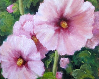 PINK Oil Painting,Pink Hollyhocks,  Original Oil Painting by Cheri Wollenberg