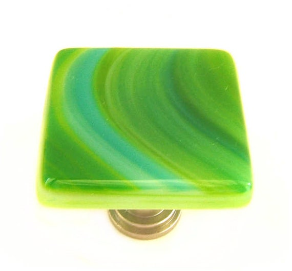 Green Glass Knobs with Turquoise and Green Swirls Fused Art Glass