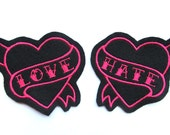 Heart patch Pair of hot pink love and hate tattoo style sew on