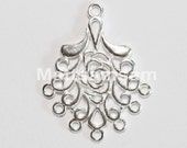 2 x 925 sterling silver filigree chandelier earring connector 20mmx25mm (12103chad)