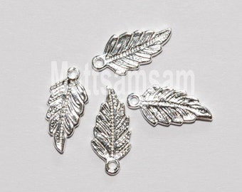 2 x 925 sterling silver leaf charm pendant 7mmx15mm (12099pend)