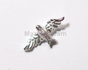 1 x 925 sterling silver bird spacer bead 7mmx15mm (12196bea)