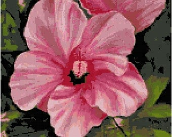 Pink Hibiscus Flower Counted Cross Stitch Pattern