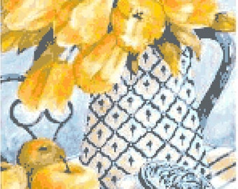 Yellow Tulips & Apples Counted Cross Stitch Pattern