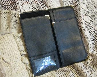 Vintage soft black leather passport wallet, men's inside pocket wallet checkbook cover, oversize black leather organizer checkbook cover