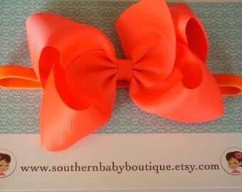 NEW ITEM----Hair Bow ELASTIC Headband-----Neon Orange