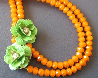 Statement Necklace Orange Jewelry Flower Necklace Green Jewelry Beaded Necklace Bridesmaid Jewelry Gift Ideas