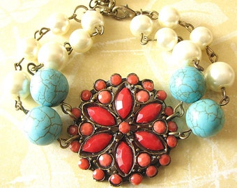 Beaded Bracelet Red Coral Bracelet Coral Jewelry Flower Bracelet Turquoise Jewelry Bridesmaid Jewelry Gift For Her