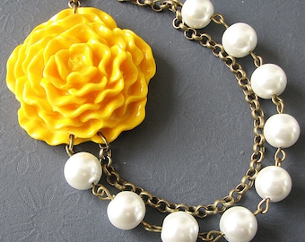 Statement Necklace Yellow Jewelry Flower Necklace Bridesmaid Jewelry Pearl Necklace Bib Necklace Gift For Her