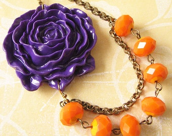 Flower Necklace Statement Necklace Orange Jewelry Purple Necklace Bridesmaid Jewelry Bib Necklace