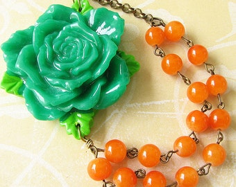 Flower Necklace Orange Necklace Green Jewelry Bib Necklace Statement Necklace Gift For Her